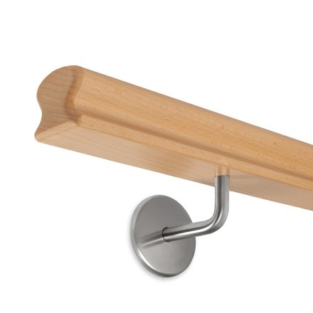 Picture: Handrail beech omega 55x50mm, holder no. 1 to screw in