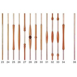 Railing rods in wood/stainless steel