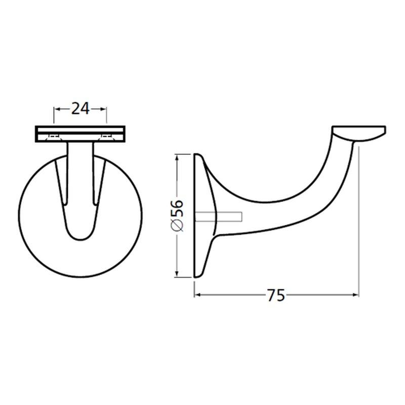 Handlaufhalter 75mm weiß gerade Auflage//Stockschraube glänzend